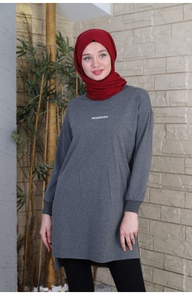 Reserved Baskılı Sweat Tunik - Füme -  2736