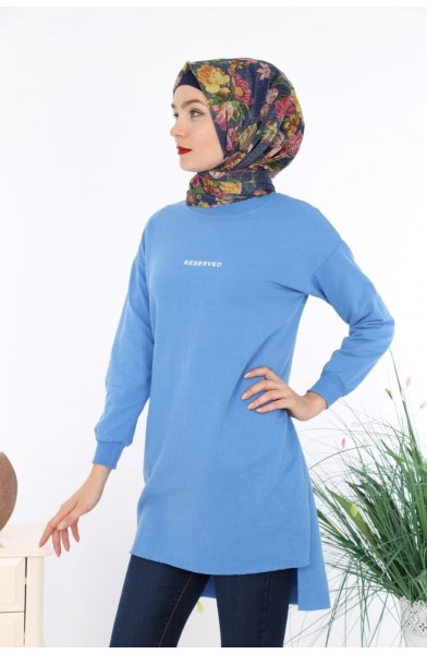 Reserved Baskılı Sweat Tunik - Mavi -  2736