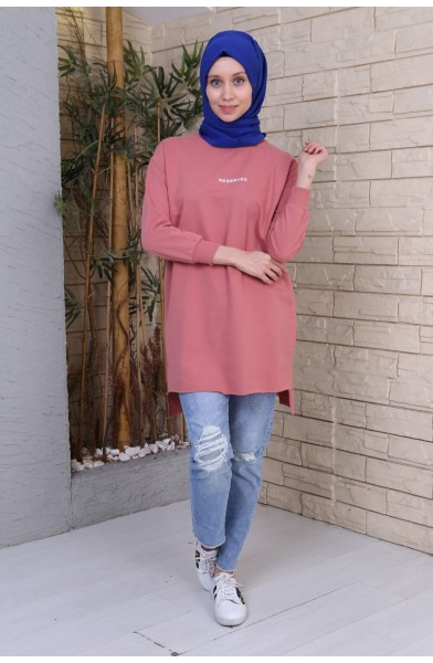 Reserved Baskılı Sweat Tunik - Pembe 2736