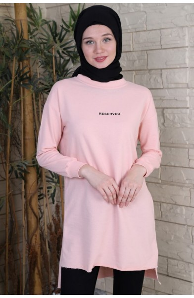 Reserved Baskılı Sweat Tunik - Pudra -  2736