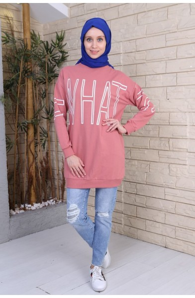 What Baskılı Tunik Sweat - Pembe-2748